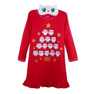 Rene Rofe Girl's Holiday Owl Nightgown with Ruffle Trim