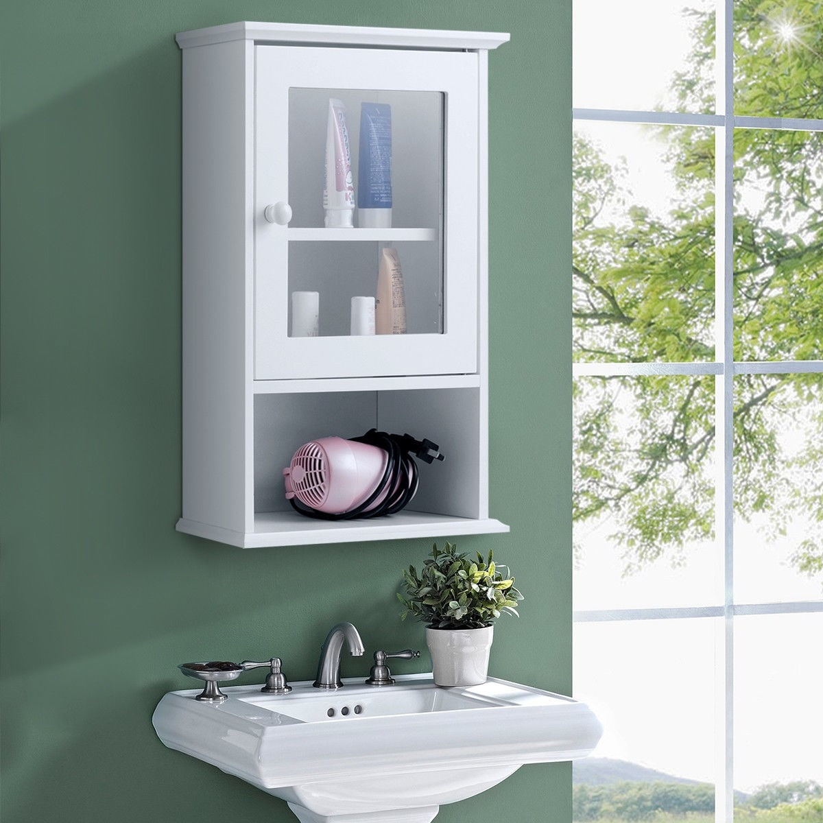 Gymax Wall Mounted Bathroom Cabinet Storage Organize Hanging Medicine Adjule Shelf