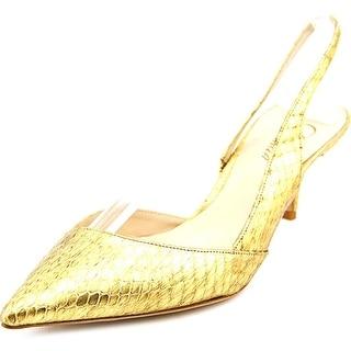 Delman Britt Women Pointed Toe Leather Slingback Heel
