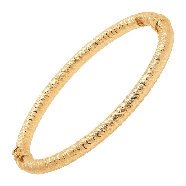 Eternity Gold Swirl Hinge Bangle Bracelet In 14k
