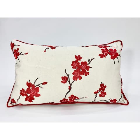 Jiti Cerezos Red Floral Transitional Cotton Handmade Pillows - 12 x 20