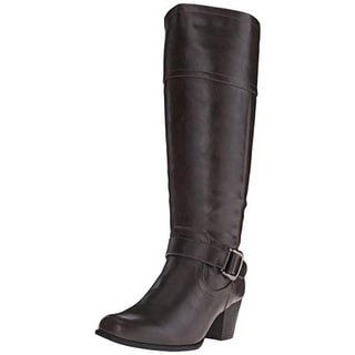 Andrew Geller Womens Haela Mid-Calf Boots Faux Leather Belted