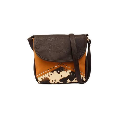 Angel Ranch Western Handbag Cow Print Crossbody Studs Brown - One Size