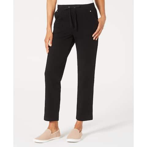 Karen Scott Women's French Terry Pants Black Size Large