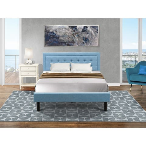 Platform Queen Bed Set Furniture with Wood Bed Frame and a Night Stand for Bedrooms - Denim Blue Fabric - End Table Piece Option