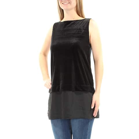 RALPH LAUREN Womens Black Velvet Sleeveless Boat Neck Tiered Evening Top Size: M