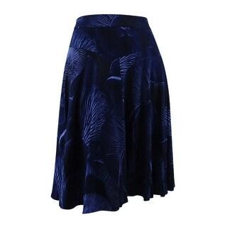 Melissa McCarthy Seven7 Women's Trendy Plus Size Fit & Flare Skirt (0X, Blue) - Blue - 0X