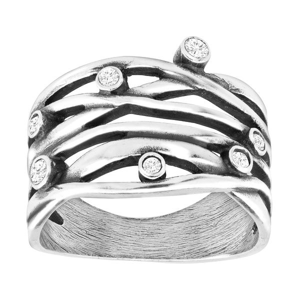 Van Kempen Art Nouveau Band Ring with Swarovski Crystals in Sterling Silver - White