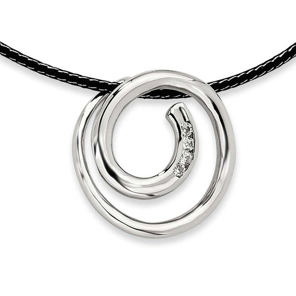 Chisel Stainless Steel CZ Pendant Necklace (2 mm) - 16 in