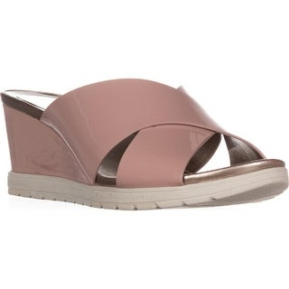 Easy Spirit Hartlyn Comfort Wedge Sandals, Light Pink Patent