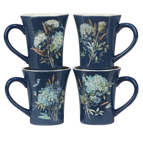 Certified International Bohemian Blue 14 oz. Mugs, Set of 4