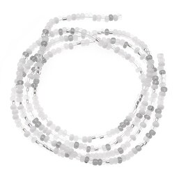 Czech Seed Beads Mix Lot 11/0 Grey Mist Iris White Silver 1/2 Hank