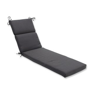 "72.5"" Black Tweed Outdoor Patio Chaise Lounge Cushion"