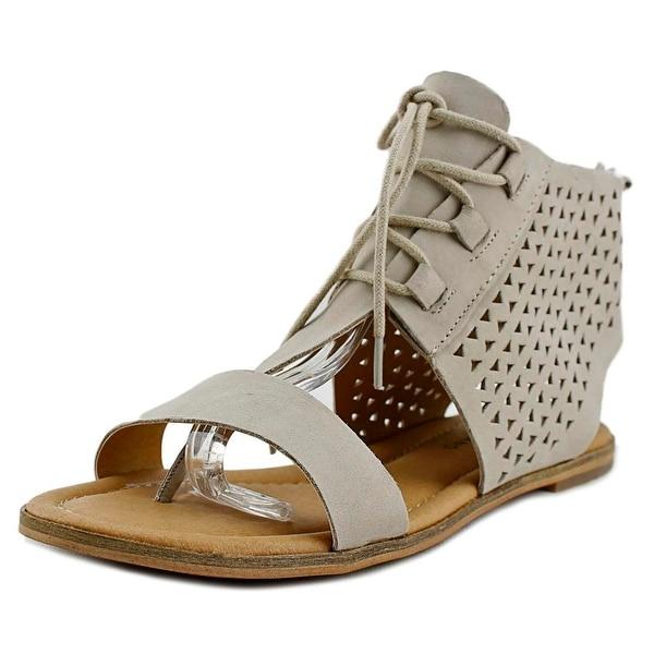 Lucky Brand Baari Women Open Toe Leather Gray Gladiator Sandal
