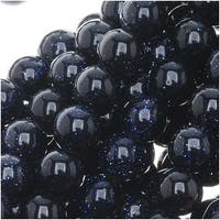 Dark Midnight Blue Goldstone 6mm Round Beads / 14.5 Inch Strand