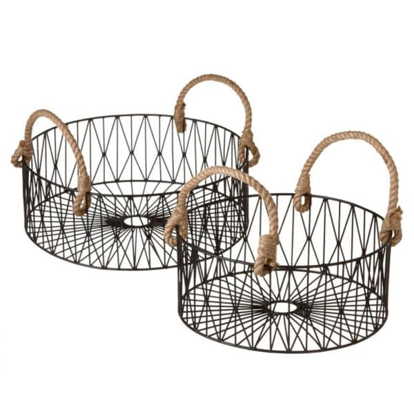 Set of 2 Contemporary Geometric Black Wire Nesting Baskets with Rope Handles - N/A