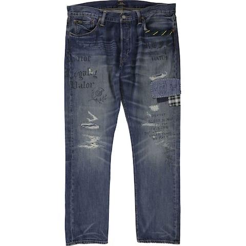 Ralph Lauren Mens Sullivan Patched Slim Fit Jeans, Blue, 36W x 34L