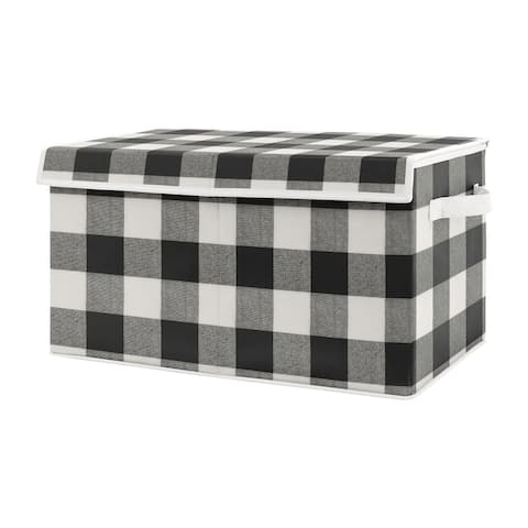 Buffalo Plaid Check Collection Boy or Girl Kids Fabric Toy Bin Storage - Black White Rustic Woodland Flannel Country Lumberjack
