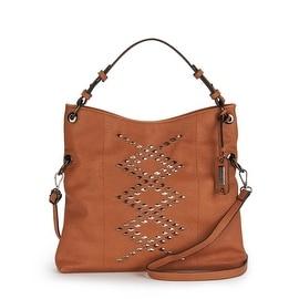 Jessica Simpson Womens Ruby Faux Leather Studded Hobo Handbag - Cognac - Medium