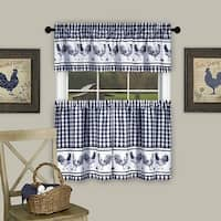 Barnyard Kitchen Curtain Tier and Valence Set, Navy, 58x14 and 58x36 Inches