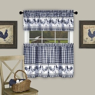 Barnyard Kitchen Curtain Tier and Valence Set, Navy, 58x14 and 58x36 Inches - N/A