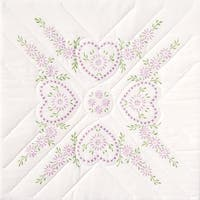 "Stamped White Quilt Blocks 18""X18"" 6/Pkg-Hearts"