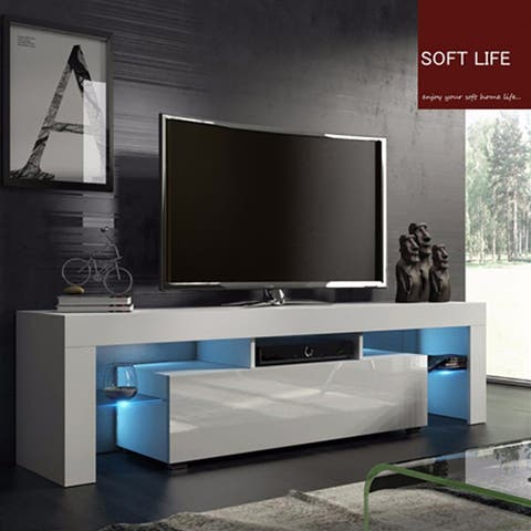 Modern Minimalist TV Stands With High-gloss LED Lights