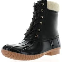 Forever Kyla-3 Women's Fashion Pull-On Faux Fur Waterproof Lace Up Duck Boots