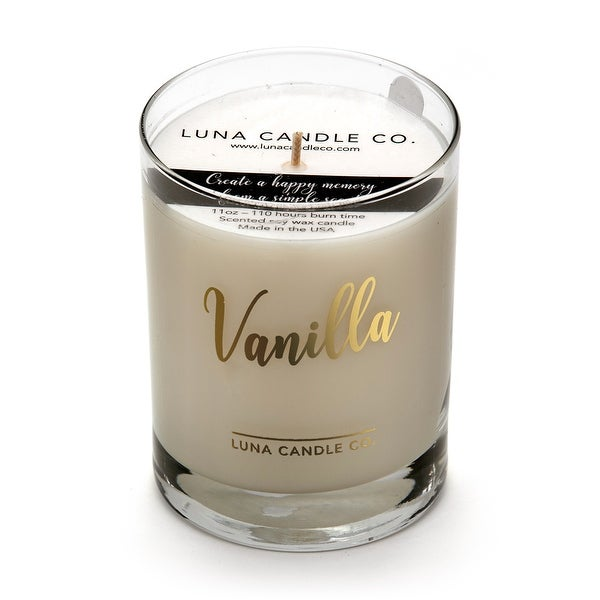 Natural Scented Vanilla Glass Candle, Soy Wax, Handcrafted
