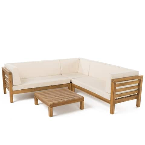 Oana Outdoor Sectional Sofa Set with Coffee Table by Christopher Knight Home