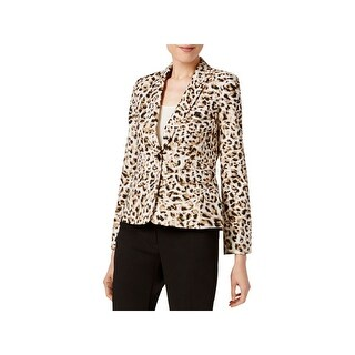 Calvin Klein Womens Petites One-Button Blazer Leopard Print Shoulder Pads