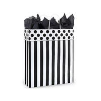 """Pack Of 200, Queen 16 X 6 X 19"""" Stripe Domino Alley Recycled Paper Shopping Bags Made In Usa"""