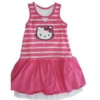 Hello Kitty Little Girls Pink White Stripe Glittery Applique Dress 4-6X