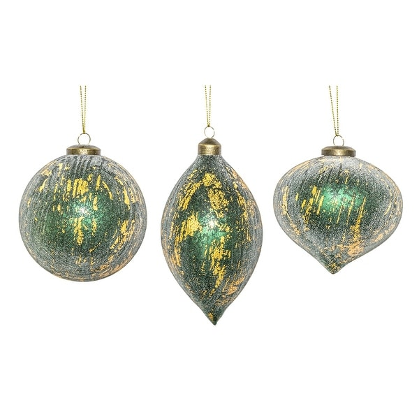 Set Of 6 Green And Gold Colored Glittery Finish Christmas Ornaments 7 25 N A