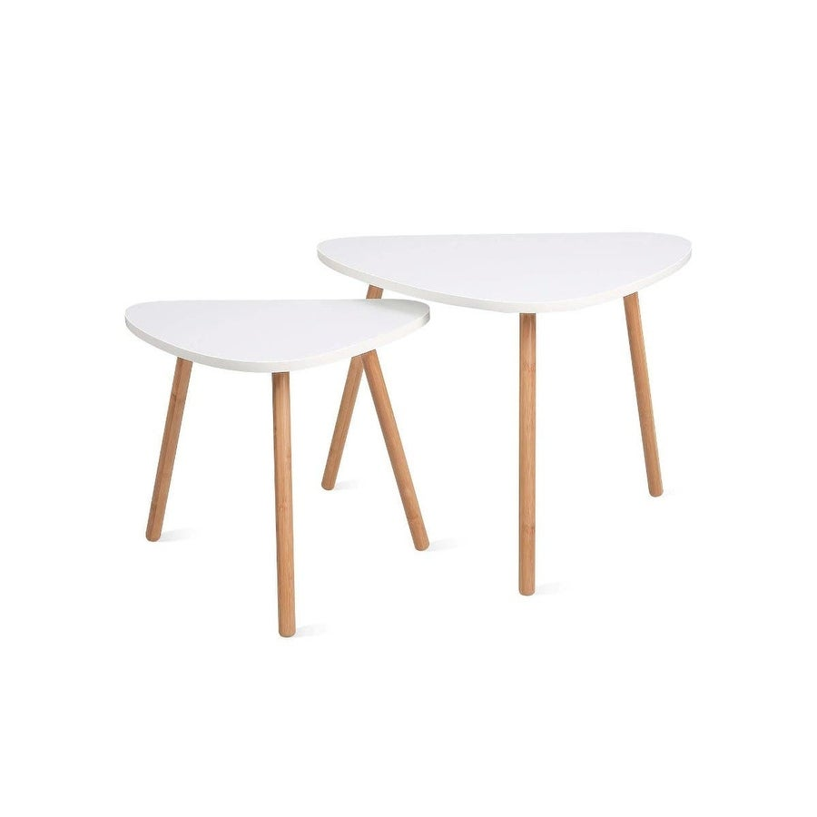 Overstock HOMFA Nesting Coffee End Tables Modern Furniture Side Table (White, Set of 2) (Assembly Required)