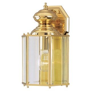 "Westinghouse 6685300 12"" Tall 1-Light Outdoor Lantern Wall Sconce - Polished brass - n/a"