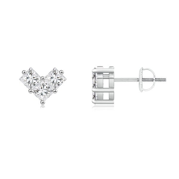 Angara V-Prong Set Princess-Cut Diamond Halo Stud Earrings