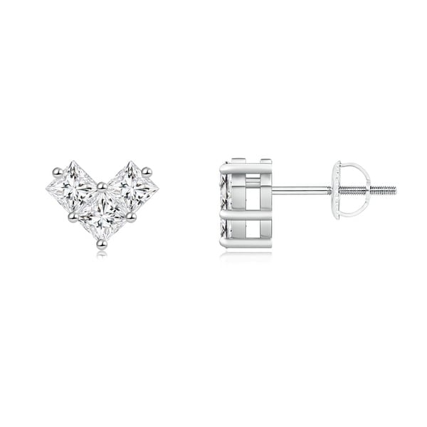 Angara V-Prong Set Princess-Cut Diamond Halo Stud Earrings 6DYhGNl5ZW