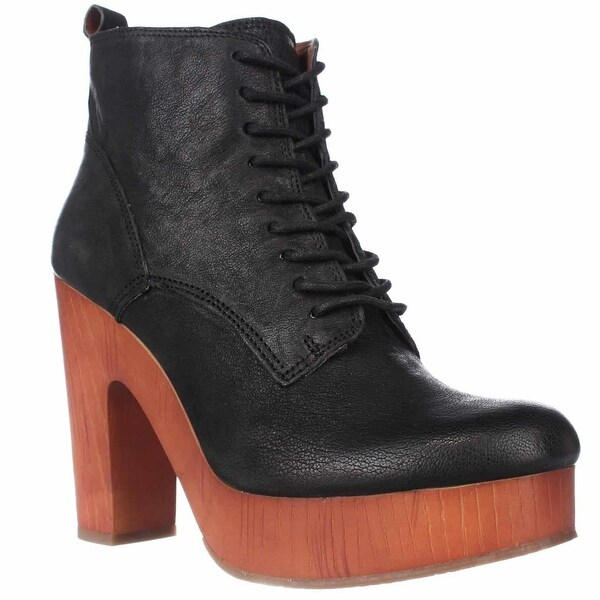 Lucky Brand Tafari Plaftorm Lace Up Ankle Boots, Black - 8 us