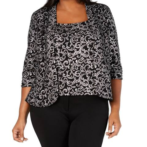 Alex Evenings Womens Jacket Black Size 1X Plus Printed Shimmer Twinset