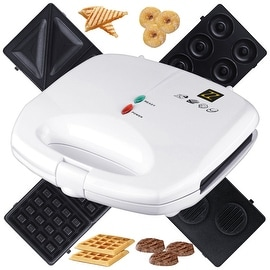 ZZ S6142A-W 4 in 1 Sandwich Waffle Burger and Donut Maker with 4 Sets of Detachable Non-Stick Plates, White