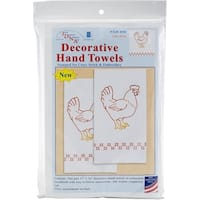 "Jack Dempsey Stamped Decorative Hand Towel Pair 17""X28""-Chicken"