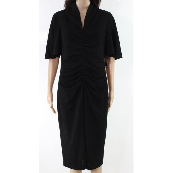 Maggy London Black Womens Size 12 Ruched Textured Sheath Dress