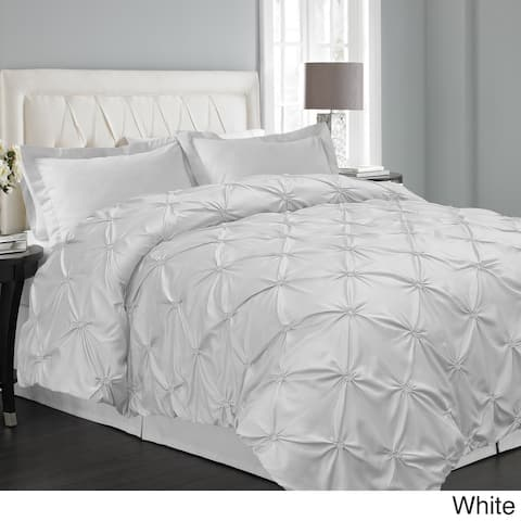 Floral Pintuck 3-piece Duvet Cover Set