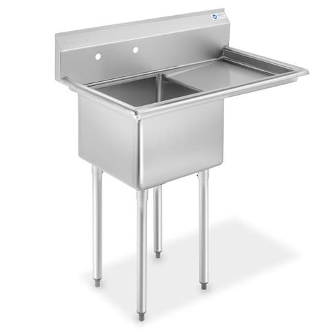 18 Inch Right Drainboard NSF Stainless Steel Sink by GRIDMANN - Right Drainboard