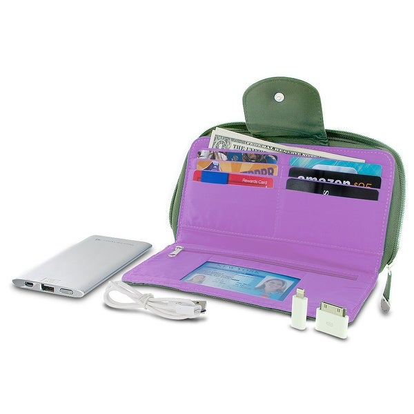 Travelon 316480 RFID Blocking Clutch Wallet With 5000mAh Power Bank - Olive