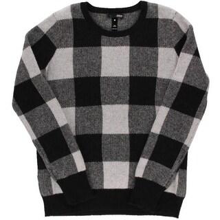 Aqua Womens Cashmere Checkered Pullover Sweater