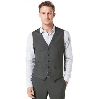 Perry Ellis Vest Charcoal XX-Large Tonal Striped Travel Luxe