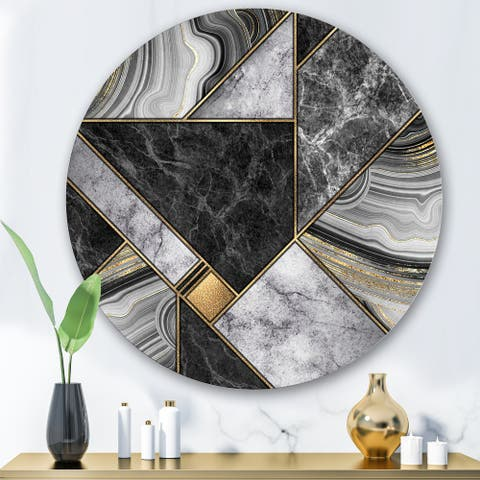 Designart 'Marble Granite Agate With Touches Of Gold' Modern Metal Circle Wall Art