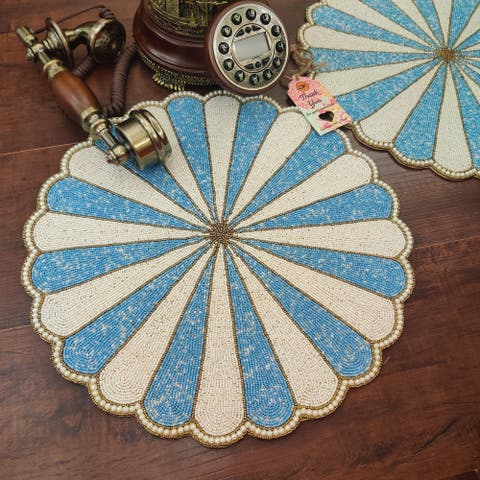 "GAURI KOHLI Blue Carousel Glass Beaded Table Placemats (Set of 2) - 15 X 15"""